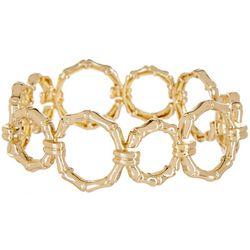 Napier Gold Tone Bamboo Metal Ring Stretch Bracele