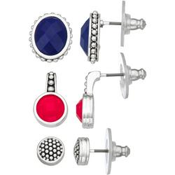 Trio Solid Dotted Stud Earring Set