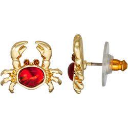 Napier Gold Tone Crab Drop Earrings