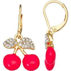 Napier Cherry Rhinestone Drop Earrings