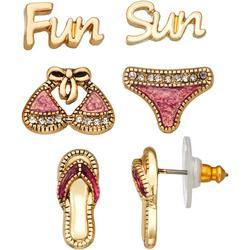 Fun In The Sun 3-Pc. Stud Earrings