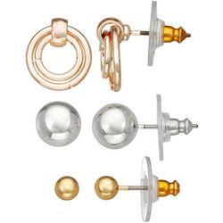 Napier 3-Pc. Tri-Tone Ball Earrings Set