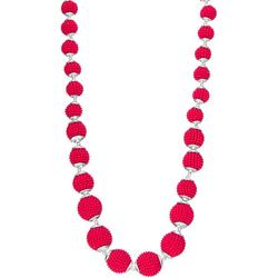 Pink Seed Bead Wrapped Bead Necklace