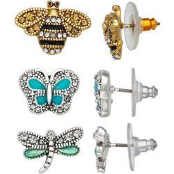 Napier 3-Pc. Bee Butterfly Dragonfly Drop Earrings