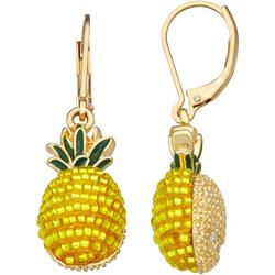 Gold Tone Pineapple Lever Back Drop Earrings