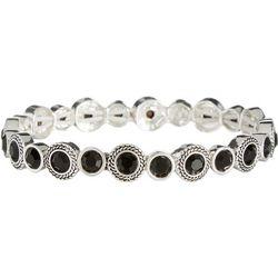 Round Black & Silver Tone Stretch Bracelet