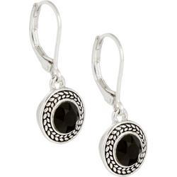 Black Stones Silver Tone Drop Earrings