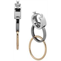 Nine West Tri-Tone Triple Ring Drop Earrings