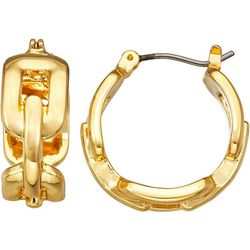 Napier Gold Tone Chain Link 18mm Hoop Earrings