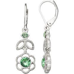 Napier Silver Tone Daisy Rhinestone Accent Drop Earrings