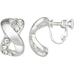 Napier Silver Tone Inifinity Rhinestone Clip Earrings