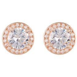 Napier Cubic Zirconia Rose Gold Tone Halo Stud Earrings