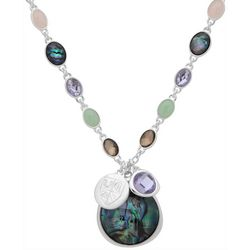 Chaps Silver Tone Abalone Bead Chain Necklace