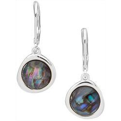 Chaps Silver Tone Abalone Drop Earrings