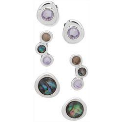 Chaps 3-pc. Silver Tone Abalone Earrings