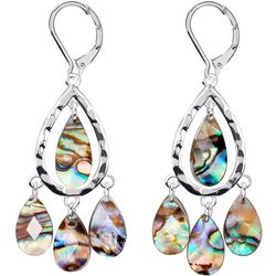 Chaps Silver Tone Shell Abalone Orbital Dangle Earrings