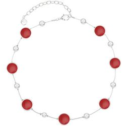 Gloria Vanderbilt Silvertone Enamal Disc & Pearl Necklace