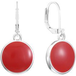 Silvertone Enamel Disc Drop Earrings