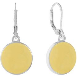 Gloria Vanderbilt Silvertone Enamel Disc Drop Earrings