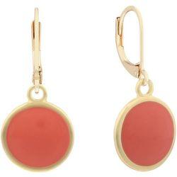 Gloria Vanderbilt Goldtone Enamel Disc Drop Earrings