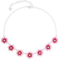 Gloria Vanderbilt Silver Tone Floral Frontal Necklace
