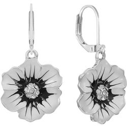 Gloria Vanderbilt Silvertone Enamel Floral Drop Earrings