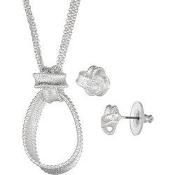 Napier Ribbon Knot Pendant Necklace & Stud Earring