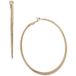 Nine West Gold Tone 70mm Textured Hoop Earrings