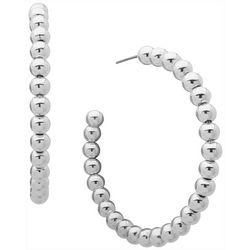 Nine West Silver Tone Bead C-Hoop Earrings