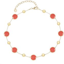 Gloria Vanderbilt Gold Tone Round Link Enamel Necklace