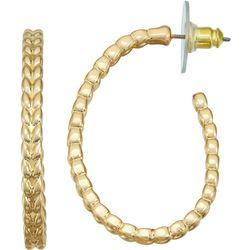 Napier Gold Tone Beaded Hoop Earrings