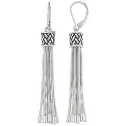 Napier Silver Tone Herringbone Tassel Dangle Earrings