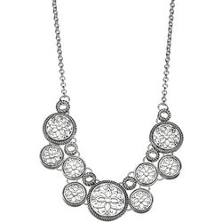 Napier Silver Tone Open Work Frontal Necklace