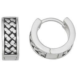 Napier Silver Tone 13mm Herringbone Earrings
