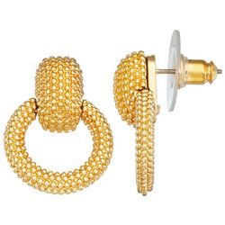 Napier Gold Tone Texture Doorknocker Earrings