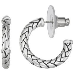 Napier Silver Tone Herringbone C-Hoop Earrings