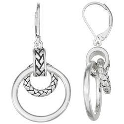 Napier Silver Tone Herringbone Orbital Ring Drop Earrings