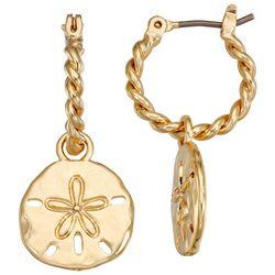 Napier Gold Tone Sand Dollar Hoop Earrings
