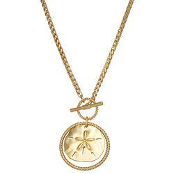 Napier Gold Tone Sand Dollar Pendant Necklace