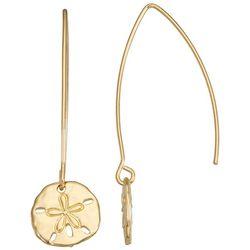 Napier Gold Tone Sand Dollar Threader Earrings