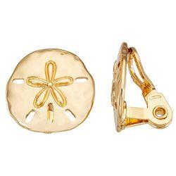 Napier Gold Tone Sand Dollar Clip-On Earrings