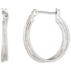 Nine West Silver Tone Triple Twist Hoop Earrings