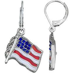 Napier American Flag Rhinestone Drop Earrings