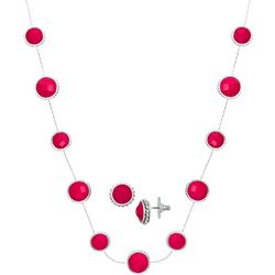 Napier Faceted Jewel Collar Earring & Necklace Set