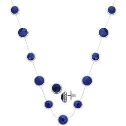 Napier Faux Sapphire Earring & Necklace Set