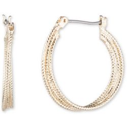 Nine West Gold Tone Triple Twist Hoop Earrings