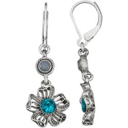 Napier Silver Tone Floral Leverback Earrings