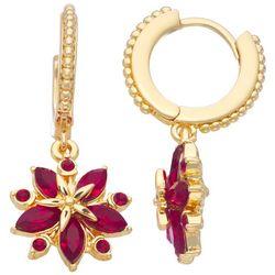 Napier Goldtone Hoops With Rhinestone Poinsettias Earrings