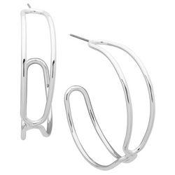 Nine West Layered C-Hoop Earrings