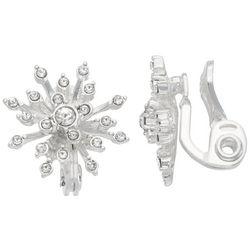 Napier Rhinestone Snowflake Clip On Earrings